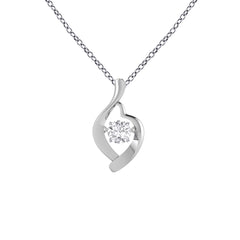 Dancing Cubic Zirconia Abstract Heart Necklace in Sterling Silver