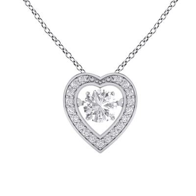 Heart Dancing Cubic Zirconia Necklace in Sterling Silver