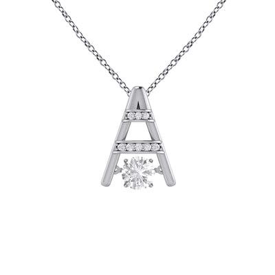 Dancing Cubic Zirconia Necklace in Sterling Silver