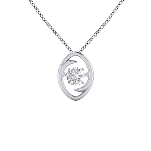 Dancing Cubic Zirconia Pendant in Sterling Silver
