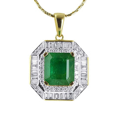 Emerald and Baguette Diamond Pendant