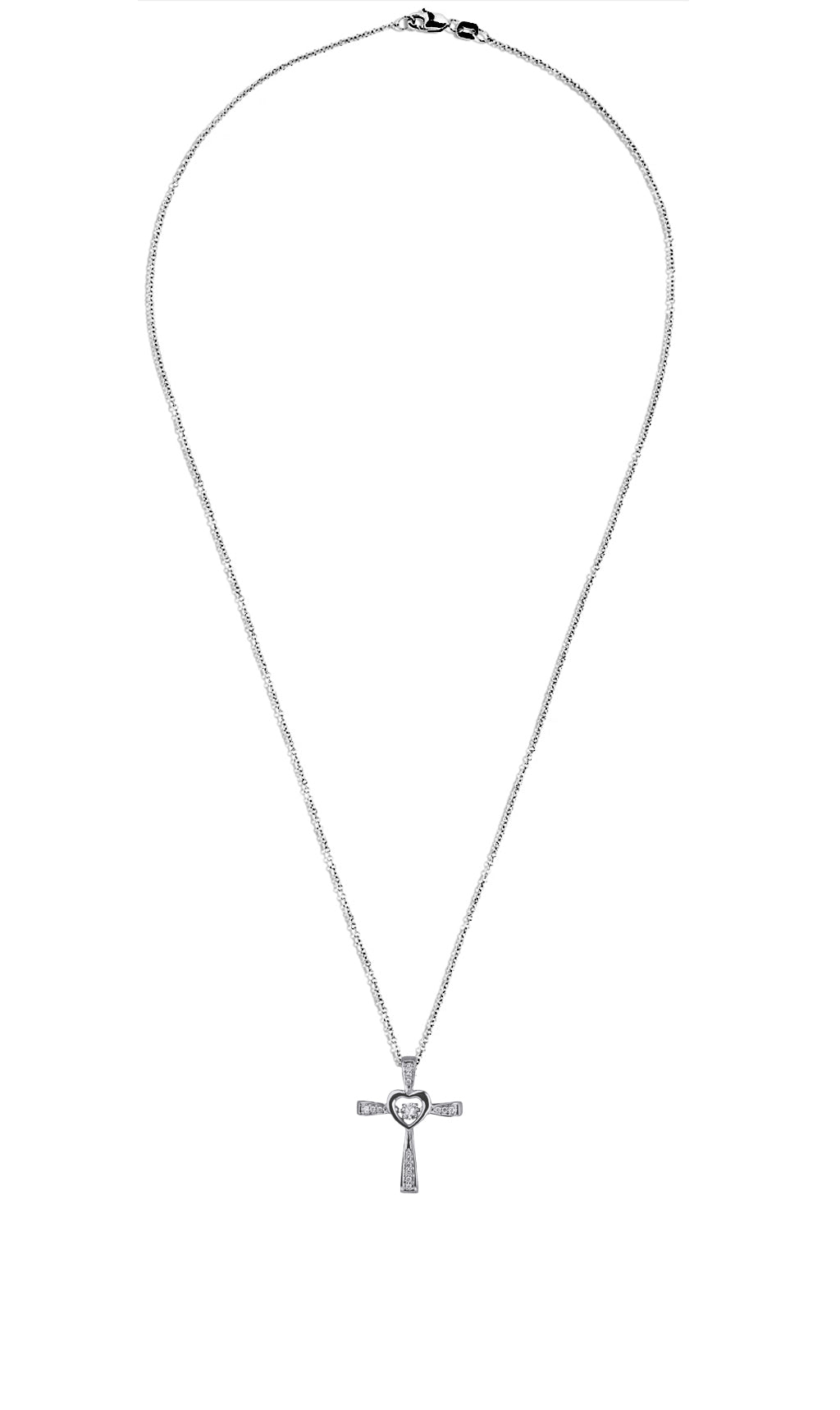 Heart Cross Dancing Diamond Pendant in 14K White Gold