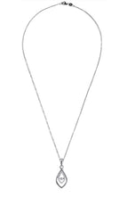 Double Drop Dancing Diamond Pendant in 14K White Gold
