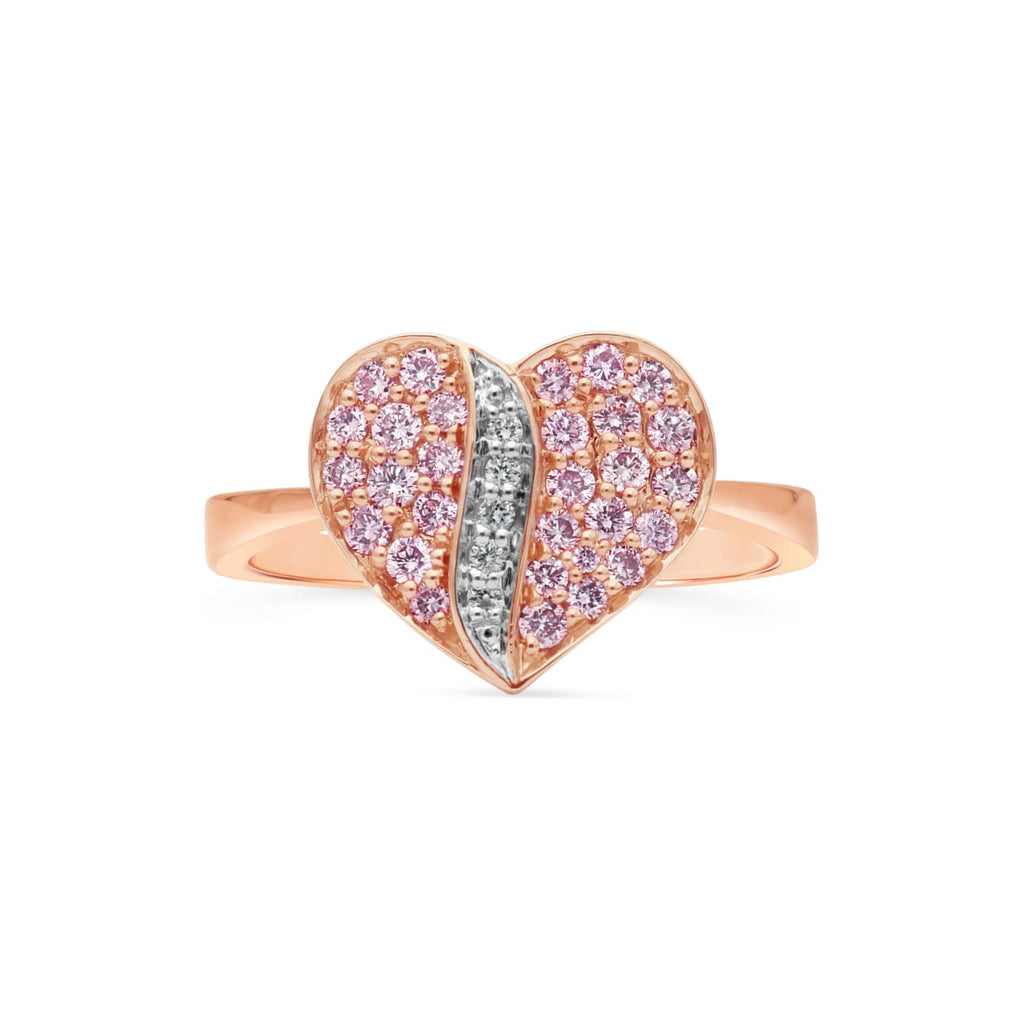 KARAH Pink Diamond Heart Promise Ring - ShopMilano
