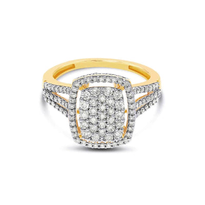 1 Ct. White Diamond Empress Ring in 10K Yellow Gold
