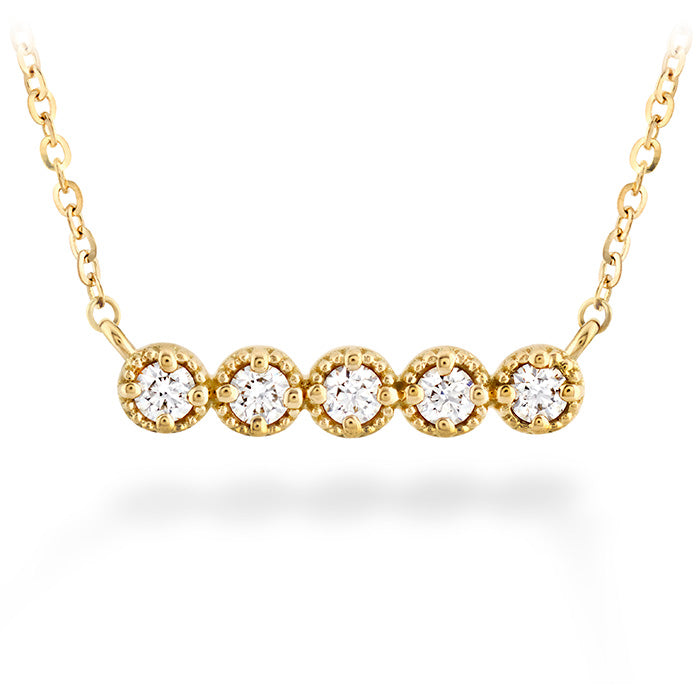 0.17 ctw. Liliana Milgrain Diamond Bar Necklace in 18K Yellow Gold
