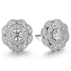 0.7 ctw. Lorelei Double Halo Diamond Stud Earrings in 18K White Gold