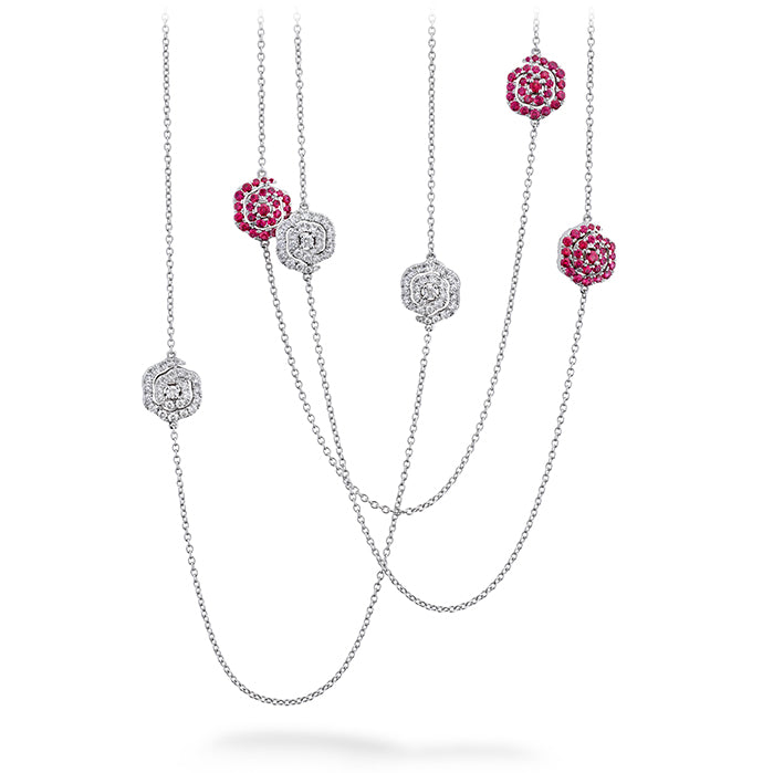1.88 ctw. Lorelei Diamond and Ruby Floral Station Necklace in 18K White Gold