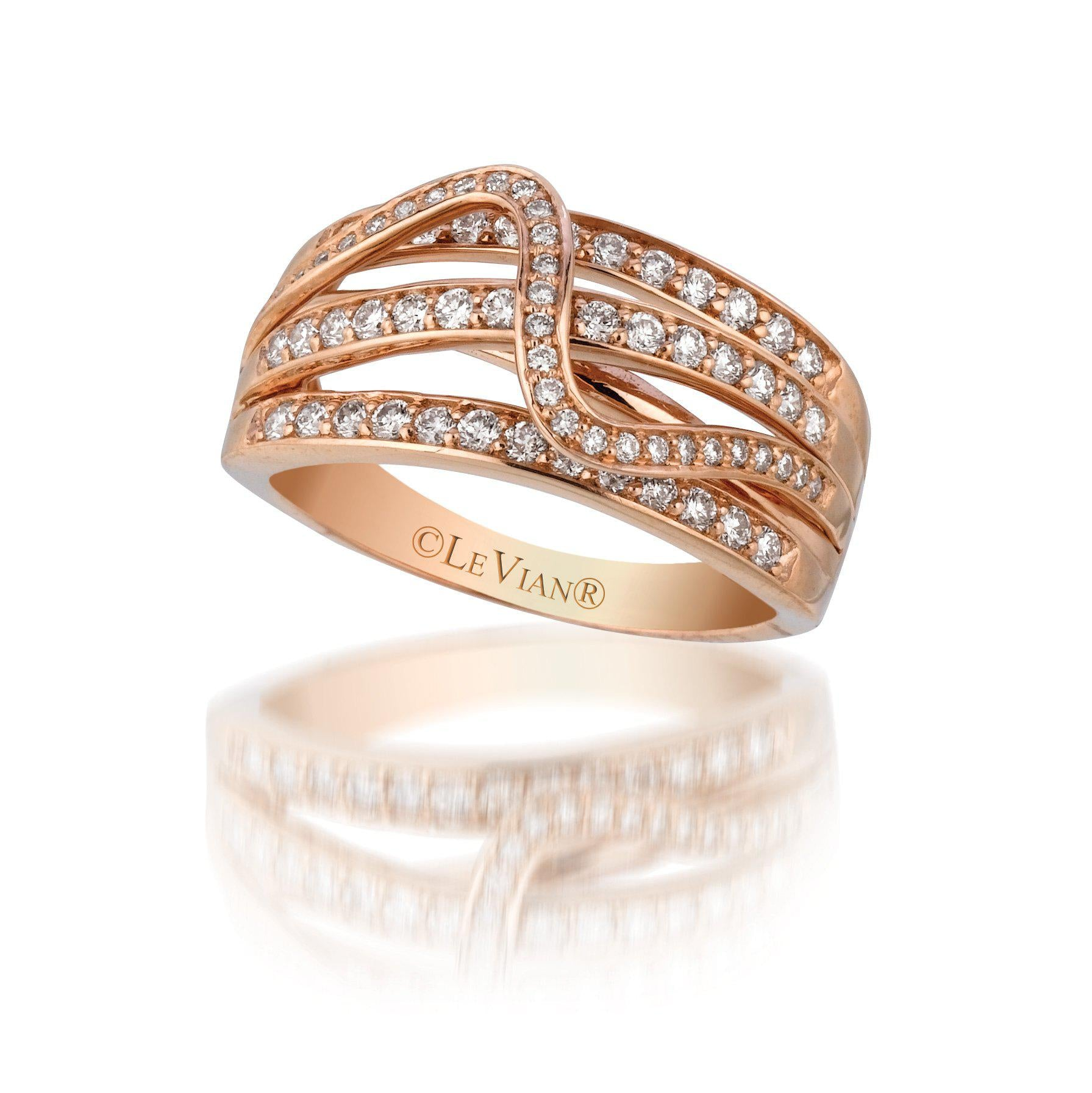 Strawberry Gold Criss Cross Ring with Nude Diamonds