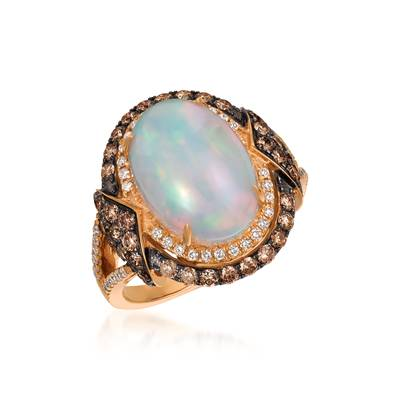 Le Vian Strawberry Gold Neopolitan Opal Ring with Chocolate and Vanilla Diamonds