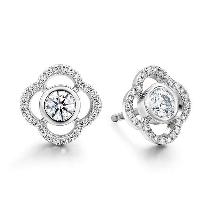 0.56 ctw. Signature Petal Bezel Earrings in 18K White Gold
