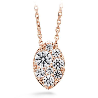 Tessa Diamond Navette Pendant in 18K Rose Gold
