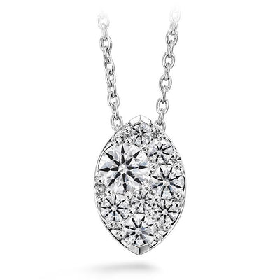 Tessa Diamond Navette Pendant in 18K White Gold