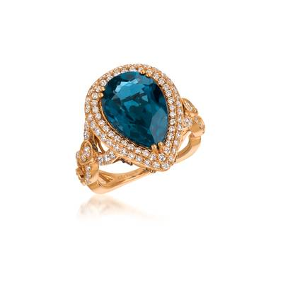 Le Vian Strawberry Gold Deep Sea Blue Topaz Ring with Vanilla and Chocolate Diamonds