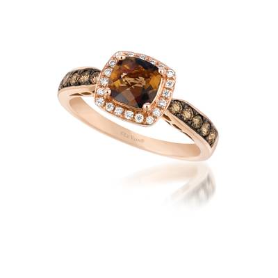 Le Vian Strawberry Gold Chocolate Quartz Ring with Chocolate and Vanilla Diamonds