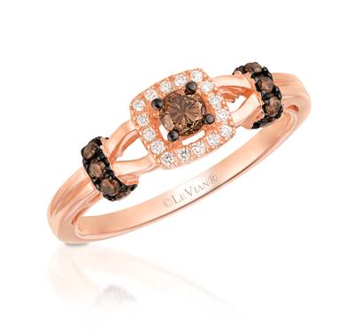 Le Vian Strawberry Gold Ring with Chocolate Diamonds and Vanilla Diamonds