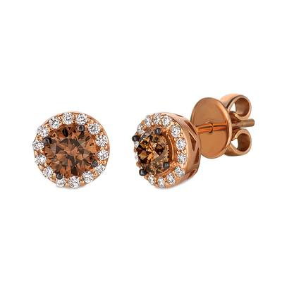 Le Vian Strawberry Gold Earrings with Chocolate and Vanilla Diamonds