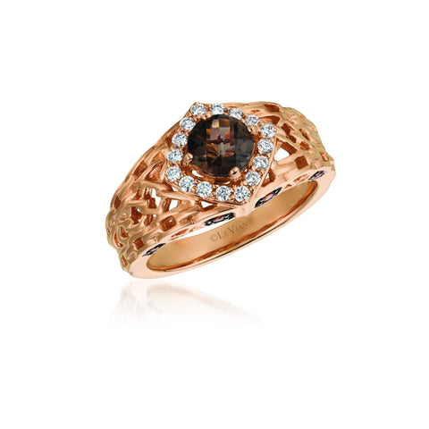 Strawberry Gold Filigree Ring with Solitaire Chocolate & Vanilla Diamonds