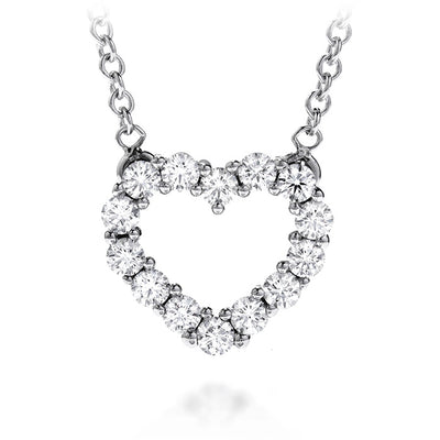 0.35 ctw. Whimsical Heart Pendant Necklace in 18K White Gold