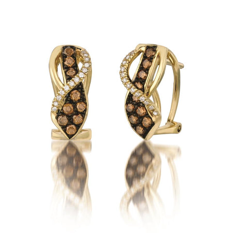 Le Vian Honey Gold™ Earrings | Chocolate Diamonds® 1/2 cts., Vanilla Diamonds® 1/15 cts.