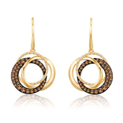 Le Vian Honey Gold Earrings with Chocolate Diamonds and Vanilla Diamonds