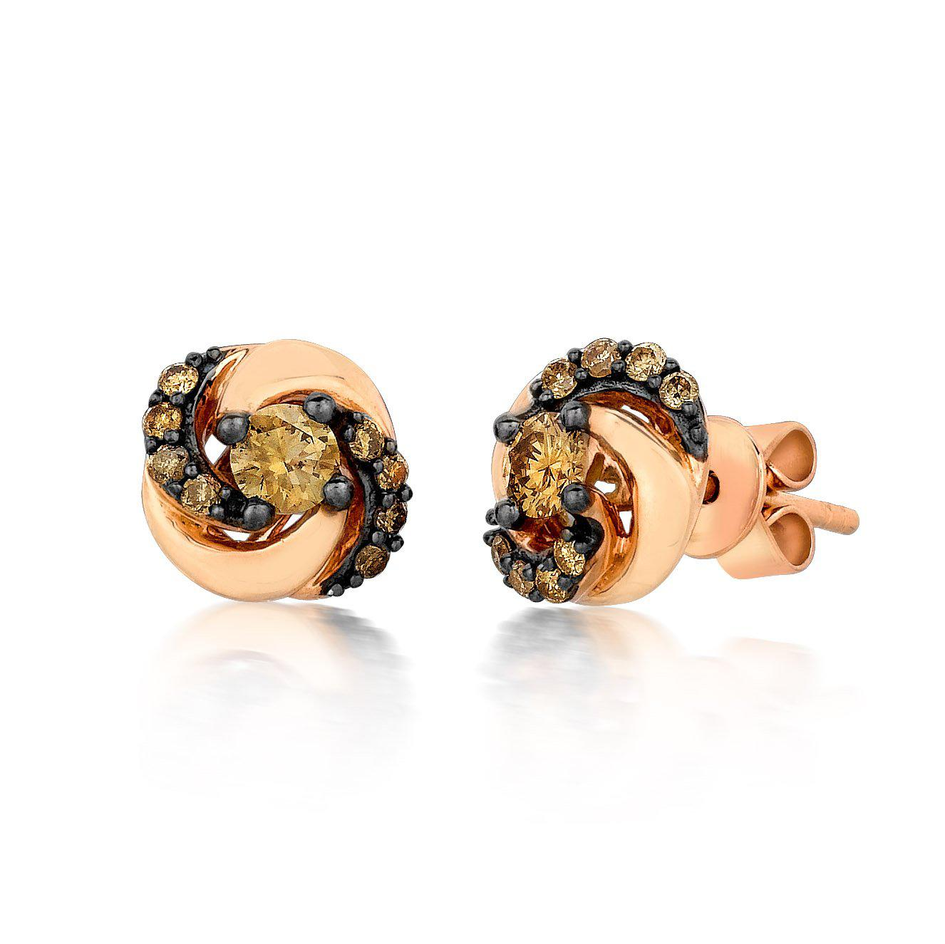 Strawberry Gold Swirl Earring with Chocolate & Vanilla Diamonds