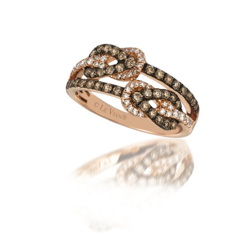 Le Vian Strawberry Gold Love Knot Chocolate and Vanilla Diamond Ring