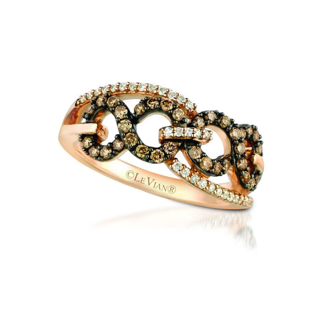 Le Vian Strawberry Gold® Ring with Chocolate Diamonds® 1/3 cts., Vanilla Diamonds® 1/8 cts.