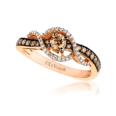 Le Vian Strawberry Gold Ring with Chocolate and Vanilla Diamonds