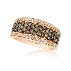 Strawberry Gold Band with Chocolate and Vanilla Diamonds