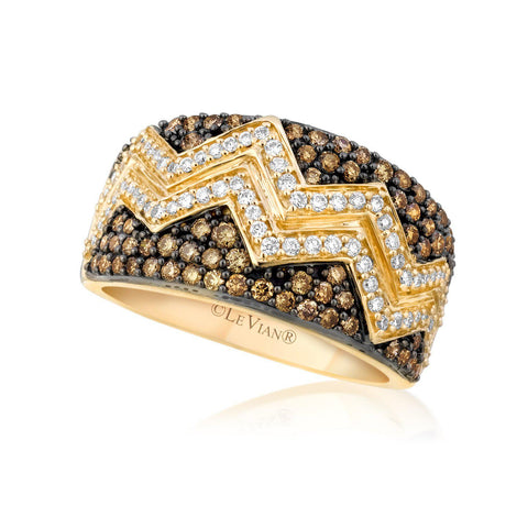 Le Vian Honey Gold Zig Zag Ring with Chocolate and Vanilla Diamonds
