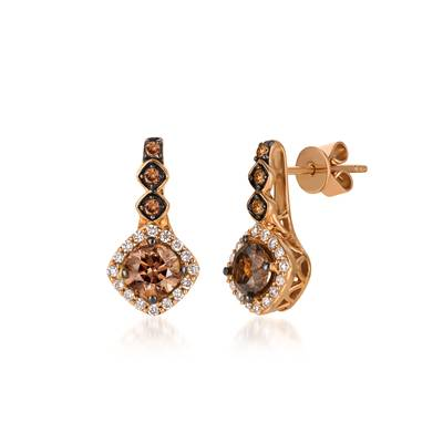 Le Vian Strawberry Gold® Earrings with Chocolate and Vanilla Diamonds