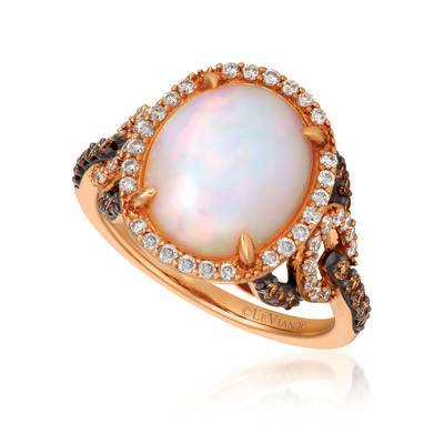 Le Vian Strawberry Gold Neopolitan Opal Ring with Vanilla and Chocolate Diamonds