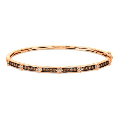 14K Strawberry Gold Bangle with Chocolate and Vanilla Diamonds