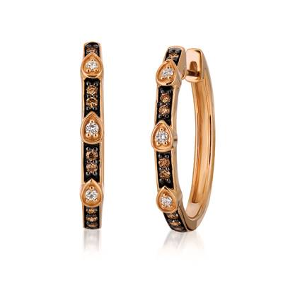 Le Vian Strawberry Gold Earrings with Vanilla and Chocolate Diamonds