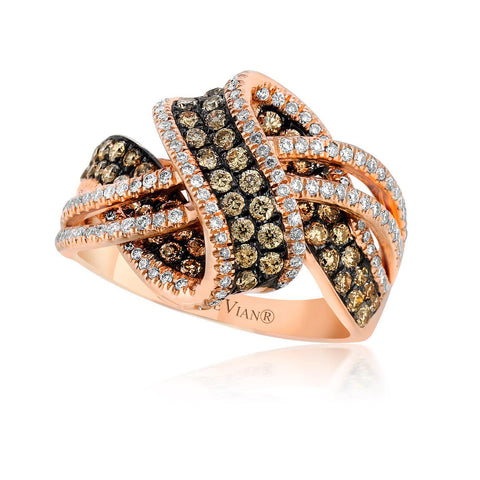 Strawberry Gold Wave and Cross Ring with Chocolate and Vanilla Diamonds