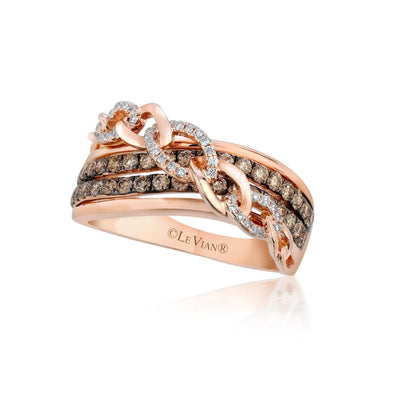 Strawberry Gold Chain Style Ring with Chocolate and Vanilla Diamonds