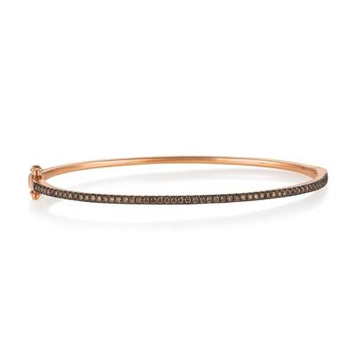 14K Strawberry Gold Bangle with Chocolate Diamonds
