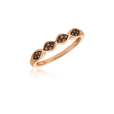 14K Gold Ring with Chocolate Diamonds