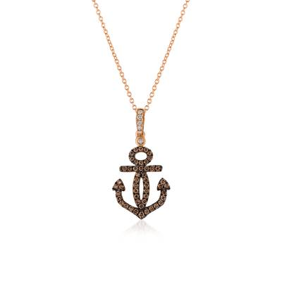 Le Vian Strawberry Gold Anchor Pendant with Vanilla and Chocolate Diamonds