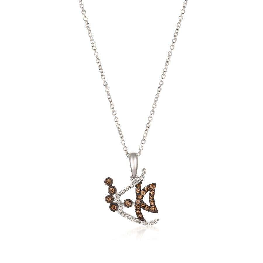 Le Vian Strawberry Gold Fish Pendant with Vanilla and Chocolate Diamonds