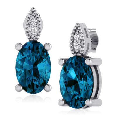 2 Cts. Blue Topaz and Diamond Earrings in Sterling Silver