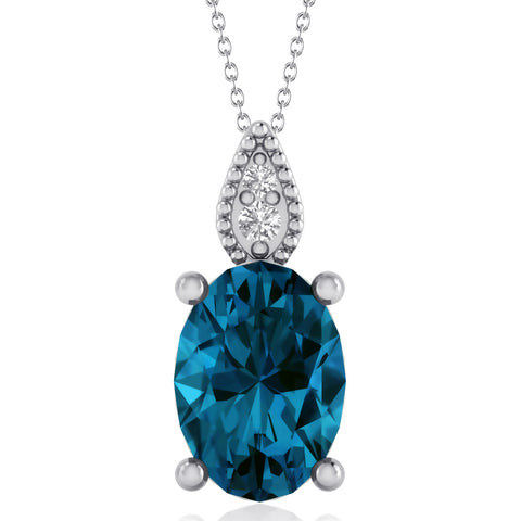 London Blue Topaz & Diamond Necklace