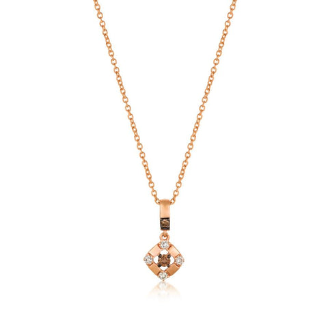 Le Vian Petite Strawberry Gold Chocolate and Vanilla Diamond Pendant