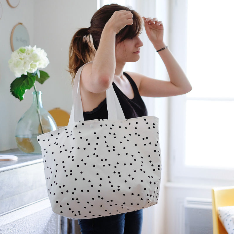 Grand tote-bag à pois Little