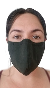 Black Reusable Face Mask being worn