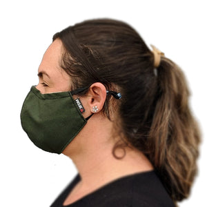 Green reusable face mask being worn profile