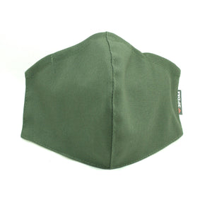 Green reusable face mask with sewn in filter