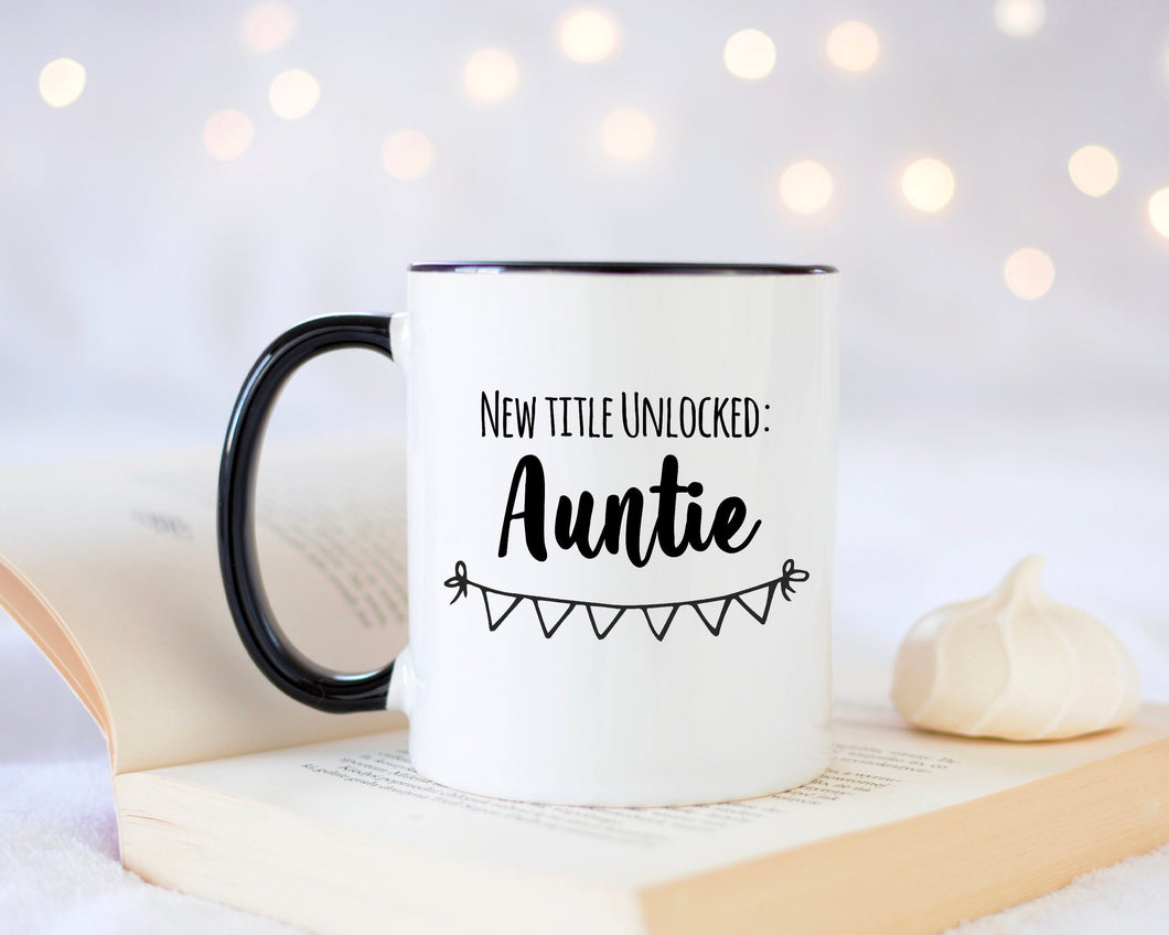 New Title Unlocked Auntie Mug, Cute Auntie Mug , Funny Aunt  Mug, Mother's Day Gifts, Custom Auntie Coffee Mug, Aunt Mug, Aunt Gift Ideas