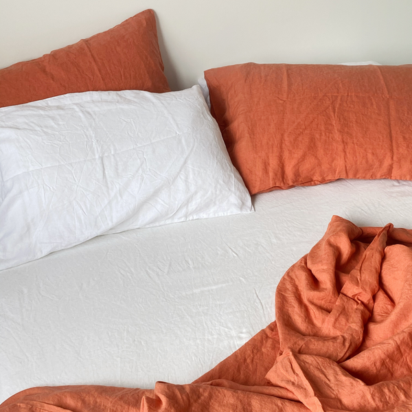 French Flax Linen Duvet Set - Coral